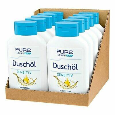 Grosspackung Pure & Basic med Duschöl Sensitiv 300 ml, 10er Pack = 3 Liter