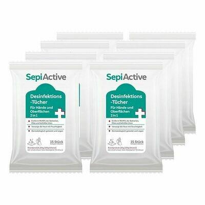 Grosspackung SepiActive Desinfektions-Tücher für Hände und Oberflächen 2in1 15 Stück, 8er Pack
