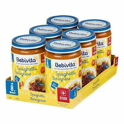 Grosspackung Bebivita Menü Spaghetti Bolognese 220 g, 6er Pack = 1,32 kg