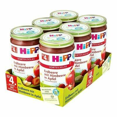 Grosspackung HiPP Bio Erdbeere mit Himbeere in Apfel 250 g, 6er Pack = 1,5 kg