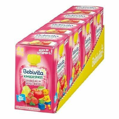 Grosspackung Bebivita Kinderspass Erdbeere in Apfel-Birne 360 g, 4er Pack = 1,44 kg