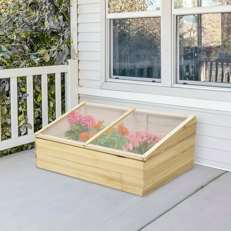 Outsunny® Gewächshaus Holz Frühbeet Frühbeetkasten Treibhaus Pflanzkasten für Balkon und Garten