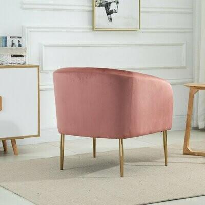 HOMCOM® Einzelsofa Sessel für Wohnzimmer Schlafzimmer Büro Sofastuhl Samt Metall Rosa