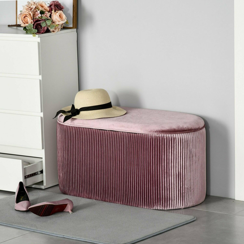 HOMCOM® Sitzbank Polsterbank mit Stauraum Truhenbank französische Stil Samt elegant Rosa