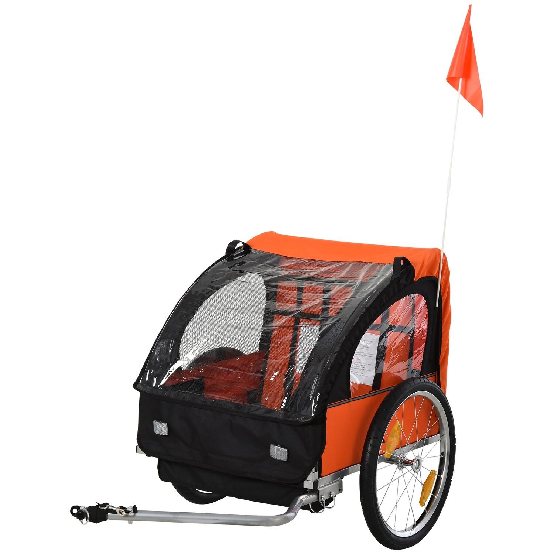 HOMCOM® Kinderanhänger Velo-Anhänger geeignet für 2 Kinder Stahlrahmen Sitzträger mit Sicherheitsgurt