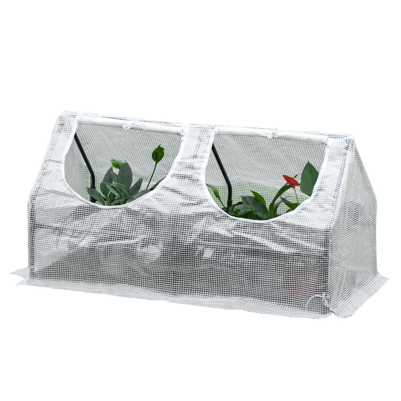 Outsunny® Gewächshaus mit Fenster PE Treibhaus Tomatenhaus Frühbeet 120x60x60cm Weiss