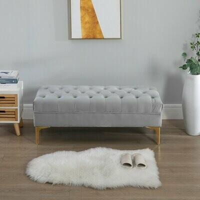 HOMCOM® Sitzbank Bettbank Schuhbank mit erhöhten Beine Schlafzimmer Samt Hellgrau
