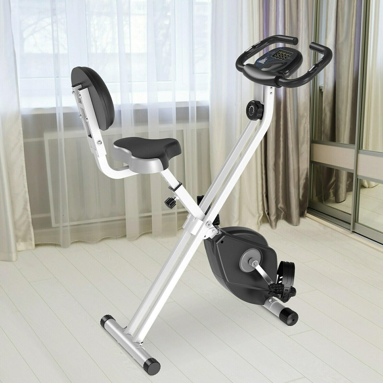 HOMCOM® Heimtrainer Fahrradtrainer mit 8 stufig Magnetwiderstand Stahl schwarz weiss