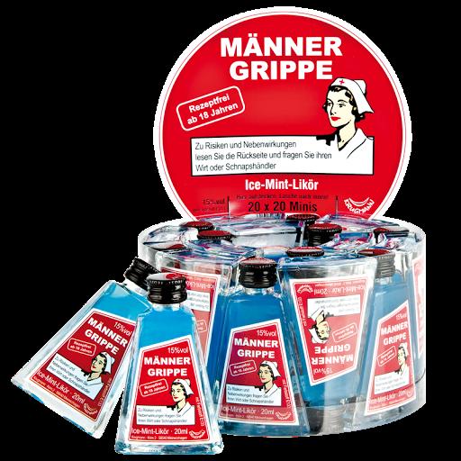 Grosspackung MÄNNERGRIPPE Ice-Mint-Likör 15%vol 20 x 0,02 l = 0,4 Liter