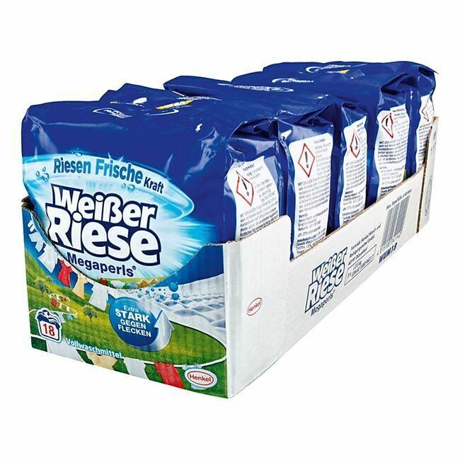 Grosspackung Weisser Riese Vollwaschmittel Megaperls 18 WL, 5er Pack