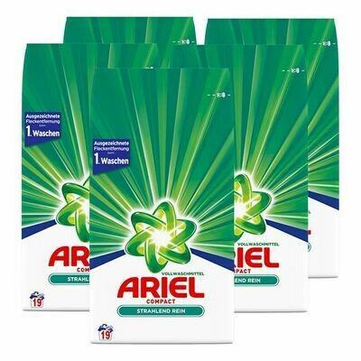 Grosspackung Ariel Vollwaschmittel Pulver 19 Waschladungen, 5er Pack