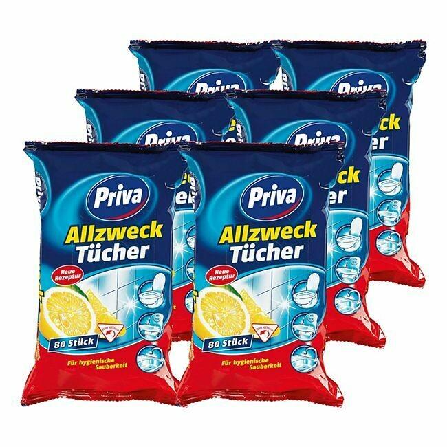 Grosspackung Priva Allzwecktücher 80 Tücher, 6er Pack