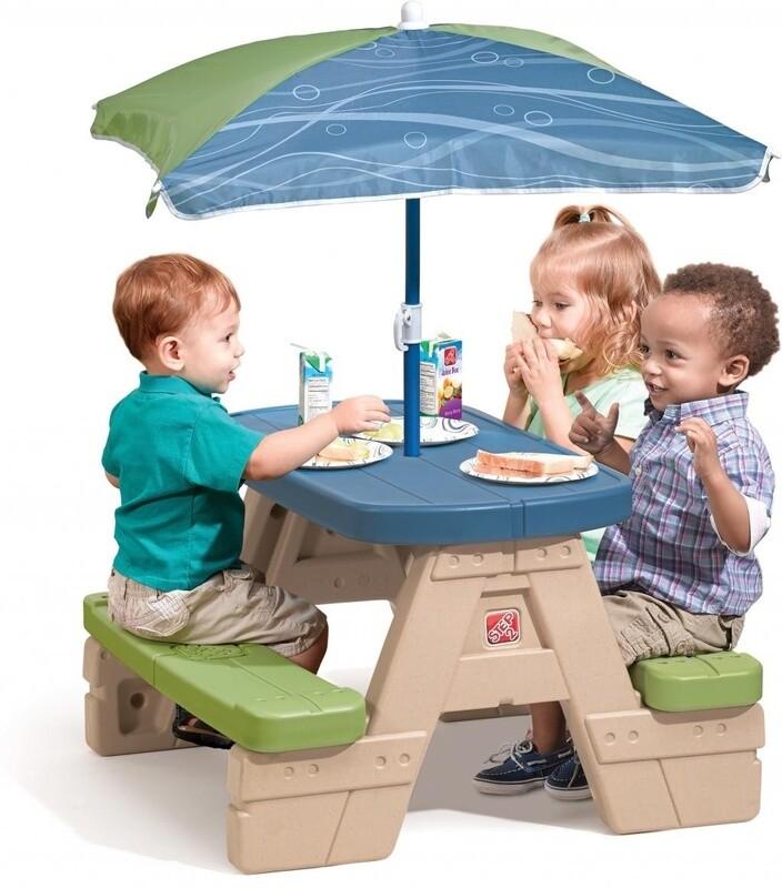 Step2 Picknicktisch klappbar, mit Sonnenschirm, 94 cm