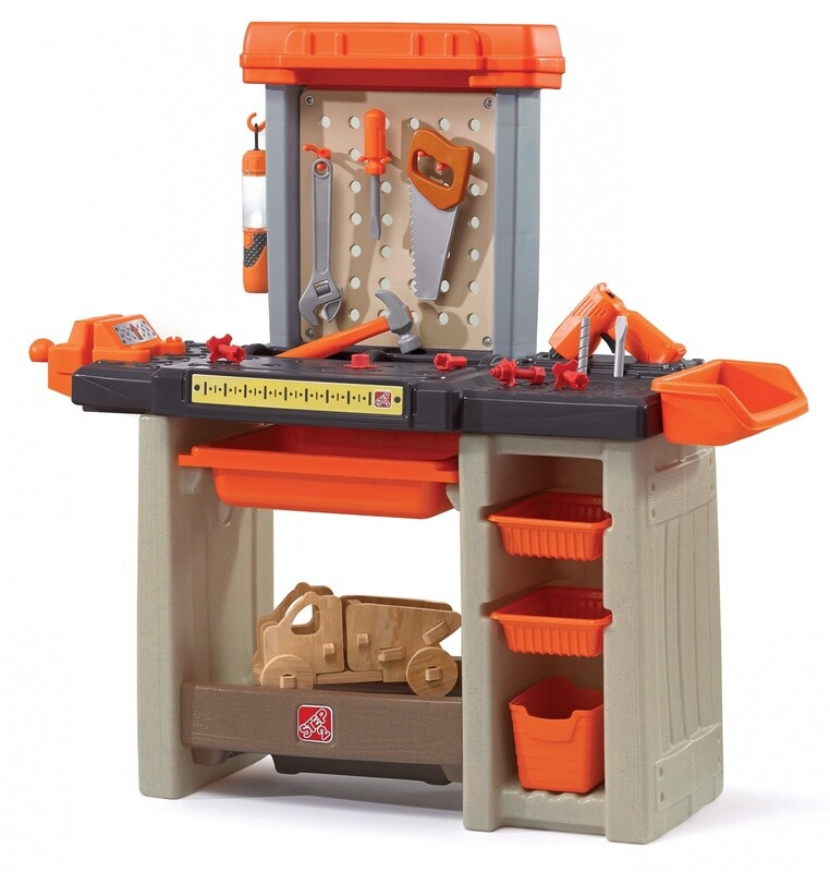 Step2  Handyman Werkbank, 90 cm orange 31-teilig