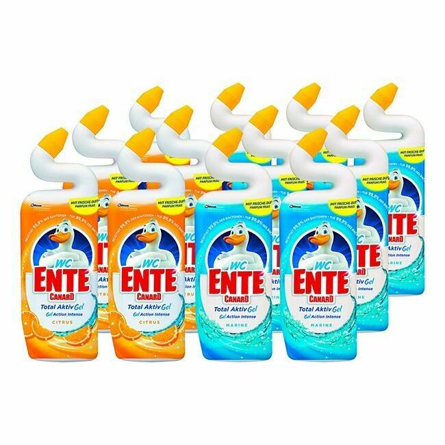 Grosspackung WC-Ente WC-Reiniger Gel 750 ml, verschiedene Sorten, 12er Pack = 9 Liter