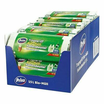 Grosspackung Priva Bio Folienmüllbeutel 15 x 15 Liter, 18er Pack Kompost geignet
