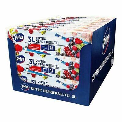 Grosspackung Priva Gefrier-Allzweckbeutel mit Ziptec 15 x 3 L, 24er Pack