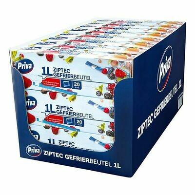 Grosspackung Priva Gefrierbeutel mit Ziptec 20 x 1 L, 24er Pack