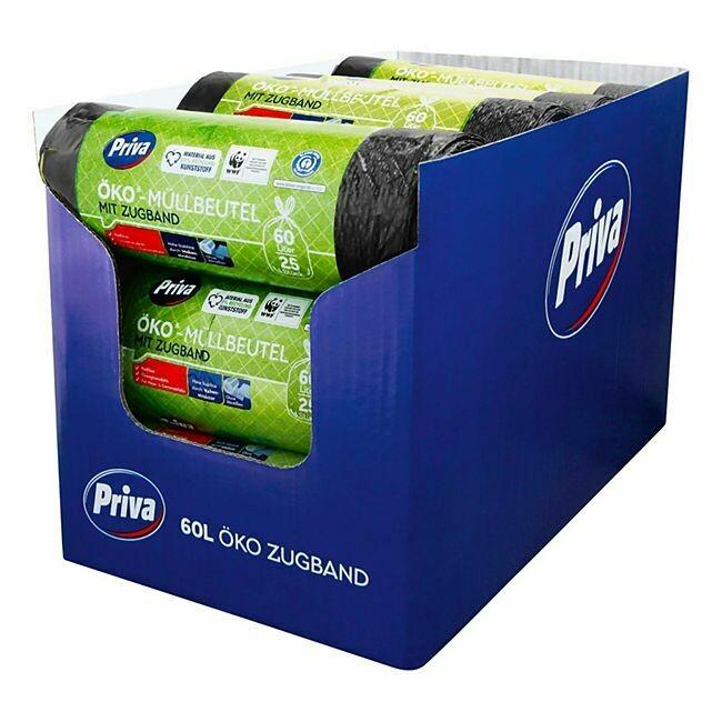 Grosspackung Priva Öko-Zugbandmüllbeutel 25 x 60 L, 15er Pack