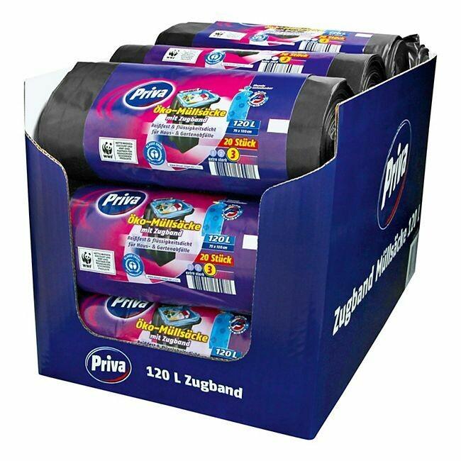 Grosspackung Priva Müllbeutel mit Zugband 20 x 120 L, 12er Pack