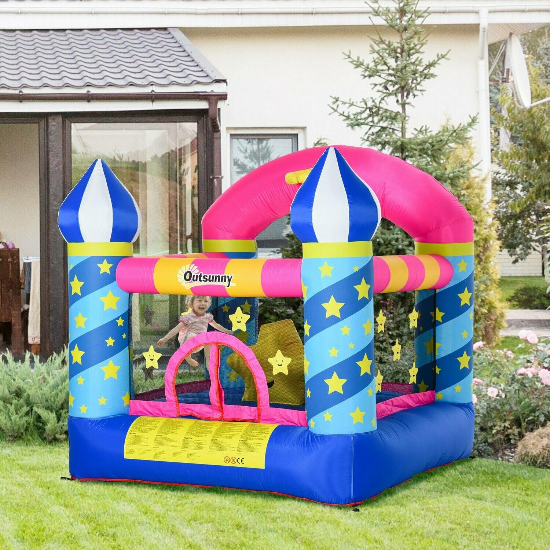 Outsunny® Hüpfburg aufblasbare Burg für 2 Kinder Springburg Spielburg mit Gebläse bunt