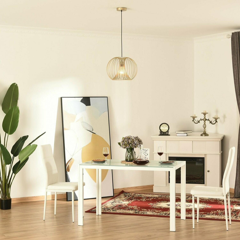 HOMCOM® Hängeleuchte Deckenlampe moderne Pendelleuchte E27 40W Stahl Gold Ø37 x 150Hcm