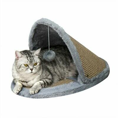 PawHut® Katzenbett Katzenhaus umkehrbarem Dach 2-in-1 Kratzbett für Katzen Sisal Plüsch