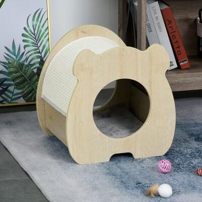 PawHut® Katzenhaus Kratzhaus mit Plüsch Katzenbett Katzenwohnung Sisal Plüsch Natur