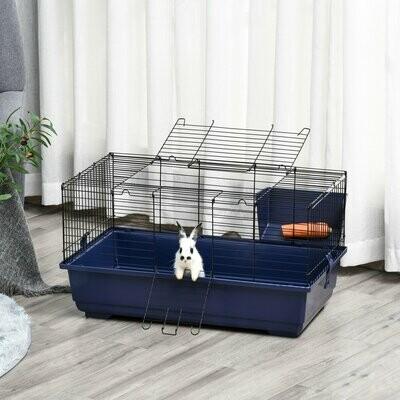 PawHut® PawHut® Kleintierkäfig Tierkäfig Nagerkäfig mit allem Zubehör Stahl+Kunststoff Blau