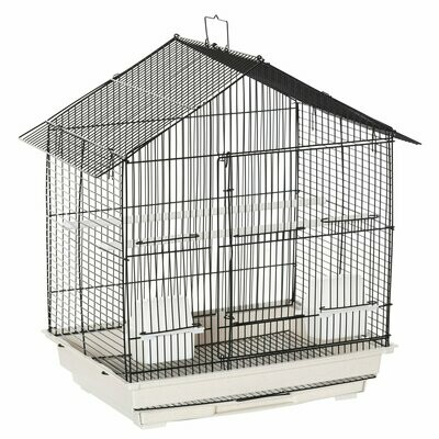PawHut® Vogelkäfig Vogelhaus Vogelvoliere für Papagei mit 2 Futternäpfe Weiss