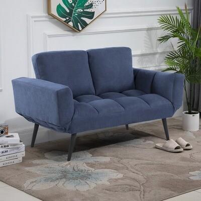 HOMCOM® Schlafsofa Klappsofa 2-Sitzer Stoffsofa Sofa mit Schlaffunktion Samt Metall Blau