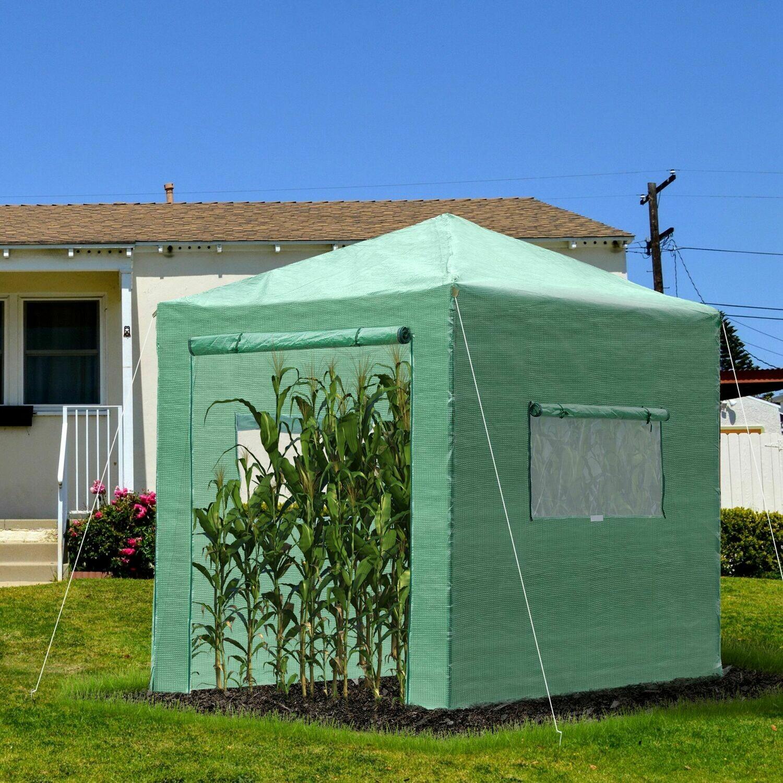 Outsunny® Gewächshaus Treibhaus Frühbeet mit Aufrollbarer Tür und Fenster PE Stahl