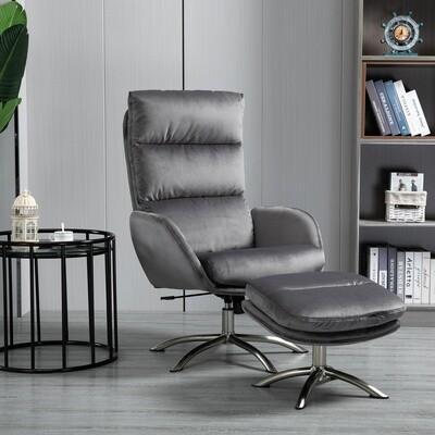 HOMCOM® Relaxsessel mit Hocker Fernsehsessel mit Wippenfuntion Stahl Samt Grau+Silber