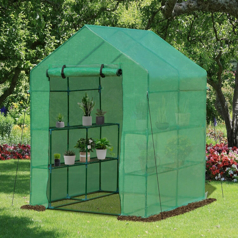 Outsunny® Gewächshaus Treibhaus Blumenregal Frühbeet Tomatenhaus Pflanzenhaus für Garten