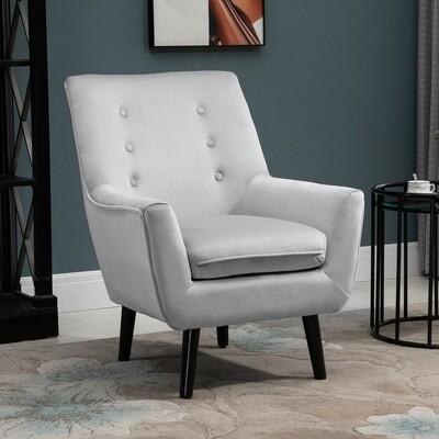 OMCOM® Sessel Gepolstertes Sofa aus Wannenstuhl Einzelsofa Eleganter Retro-Stuhl Grau