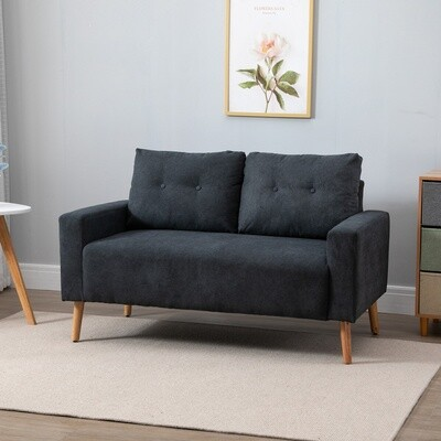 HOMCOM® Sofa 2-Sitze Relaxsessel mit Armlehne im skandinavischen Design Dunkelgrau