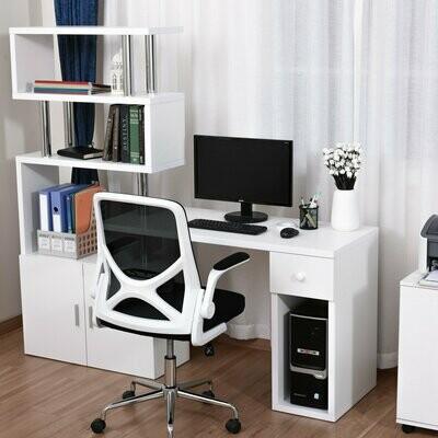 HOMCOM® Schreibtisch in L-Form/I-Form Computertisch Kombination-Tisch + Regal Edelstahl Weiss