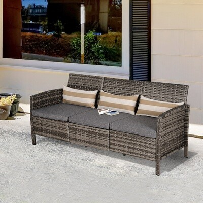 Outsunny® Rattan Sofa Outdoor Dreisitzer Garten Loungesofa mit Kissen Stahl Grau