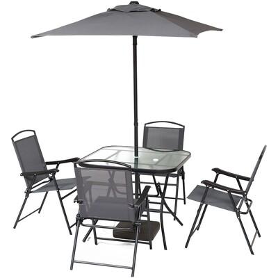 Outsunny® Gartenmöbel Set 7-teilige Sitzgruppe 1 Sonnenschirm, 1 Tisch, 4 Stühle Metall