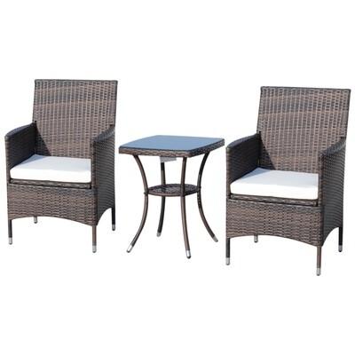 Outsunny® Gartensitzgruppe 3-tlg. Sitzgarnitur Beistelltisch Sitzkissen Polyrattan Braun