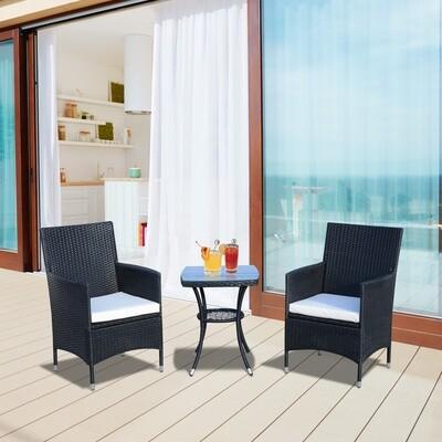 Outsunny® Gartensitzgruppe 3-tlg. Sitzgarnitur Beistelltisch Sitzkissen Polyrattan Schwarz