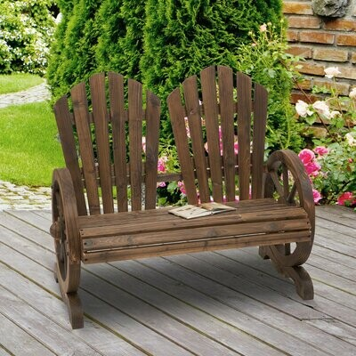 Outsunny® Gartenbank mit Armlehne Sitzbank Gartenmöbel Massivholz Dunkelbraun