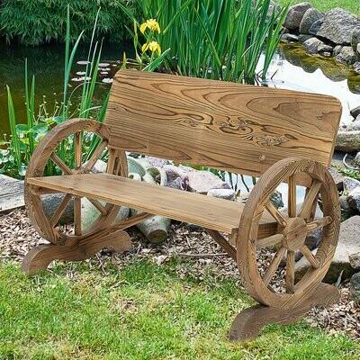Outsunny® Gartenbank Sitzbank Gartenmöbel Armlehne Wagenräder-Design Massivholz Braun
