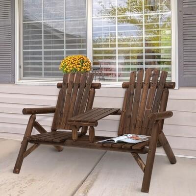 Outsunny® Gartenbank mit Tisch Gartenmöbel Sitzbank 2 Stühle Massivholz Braun