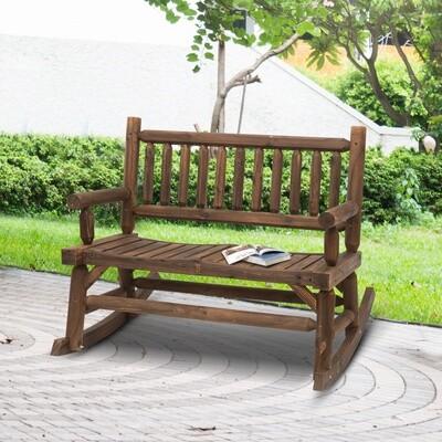 Outsunny® Schaukelstuhl mit Armlehne Gartenbank Massivholz Dunkelbraun