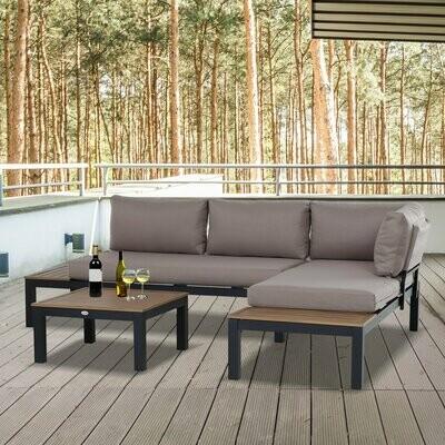 Outsunny® 3-teiliges Gartenmöbel-Set Chaise Lounge Beistelltisch mit Kissen Aluminium