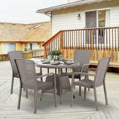 Outsunny® Gartenmöbel Set Fünfteiliges Sitzgruppe Sitzgarnitur 1 Tisch, 4 Stühle PP Rattan