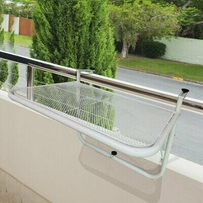 Outsunny® Balkonhängetisch Hängetisch höhenverstellbar viereckig Terrasse Metall Weiss