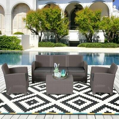 Outsunny® Vierteiliges Gartenmöbel Set Sitzgruppe Sofa Sitzkissen Couchtisch mit Stauraum