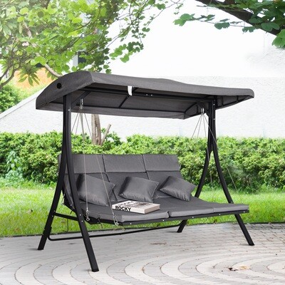 Outsunny® Hollywoodschaukel 3-Sitzer Gartenschaukel Verstellbares Dach Textilene Grau